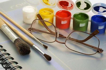 art paint brushes & gouache Stock Photo