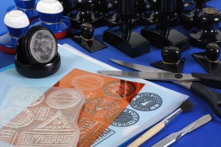 cliche': manufacturing of stamps (stamps,  cliche,  negative and printed form)  Stock Photo