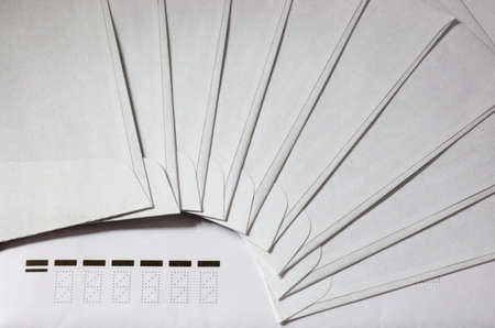 mailroom: ZIP code. envelopes located by a fan Stock Photo