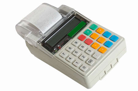 Cash register on a white background photo