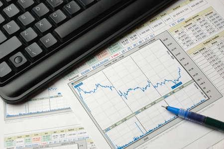 The financial analysis on the basis of financial analytical schedules and tables Stock Photo