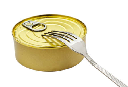 Canned Food and fork On a light grey background Stock Photo - 7016598