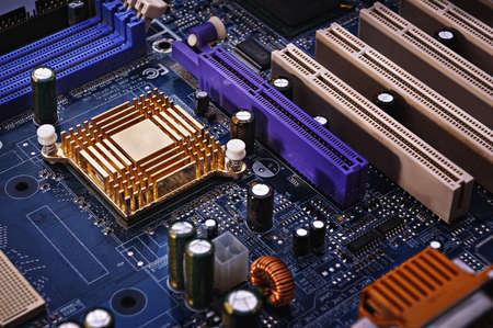 circuitboard: Mainboard close up non uno sfondo scuro