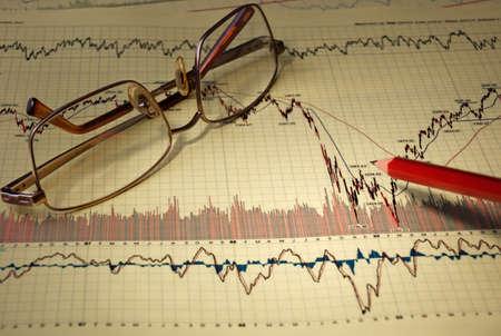 Die Finanzanalyse des Wachstums des Exchange-Umsatz auf der Grundlage von Diagrammen und Zeitpläne Standard-Bild - 7992650