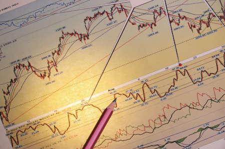 Die Finanzanalyse des Wachstums des Exchange-Umsatz auf der Grundlage von Diagrammen und Zeitpläne Standard-Bild - 7992653