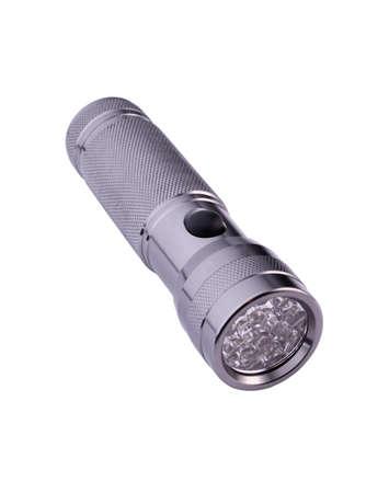 Light aluminium flashlight on a white background