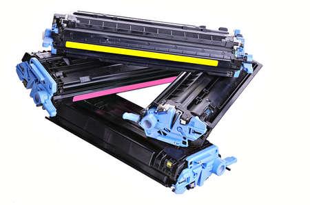 copier: Laser Printer tonercartridges op een lichte achtergrond