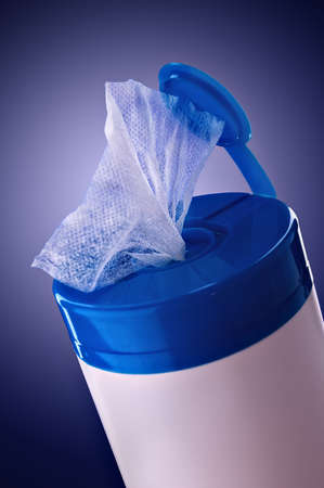 Napkin for cleaning in a plastic container Stock Photo - 9136546