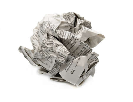 throw away: newspaper ball isolated on a white background