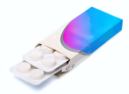 blister pack of pain medication in box, on white background Stock Photo - 10071187