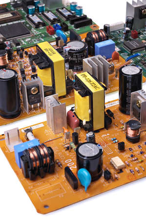 Electronic components on a printed circuit board Stock Photo
