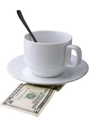 monetary: Coffee cup with a spoon and a monetary denomination Stock Photo
