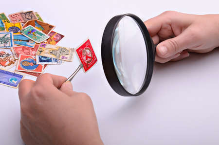 Old stamp in hands of the philatelist with a magnifier on a light background