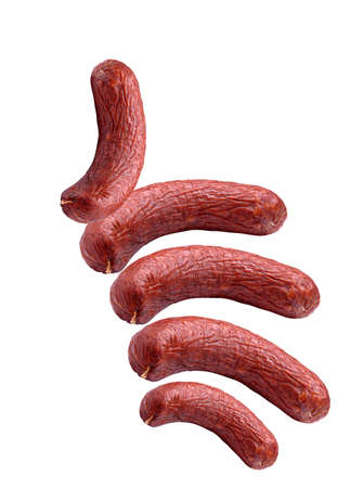 aliments: favorite group of sausages on a white background