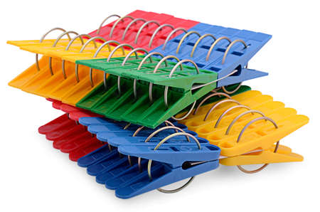 colorful clothespins on a white background Stock Photo - 15529476