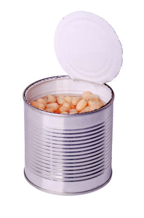 can food: open tin can with white beans on a white background