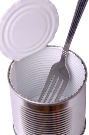 can food: open a can with a dining room with a fork on a white background Stock Photo