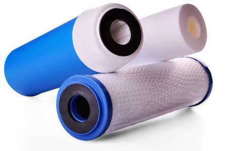 sump: filtri per l'acqua potabile su sfondo bianco