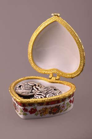 multicolor jewelry box on a dark gray background Stock Photo - 17725142