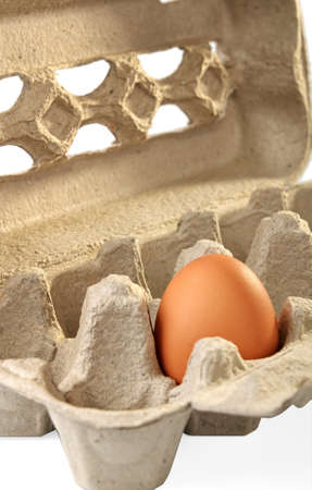 eggs in a carton packaging on a white background photo