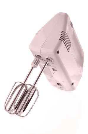 batidora: equipo de cocina, batidora eléctrica aislado en fondo blanco