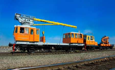 railway locomotive crane for the construction of railways photo