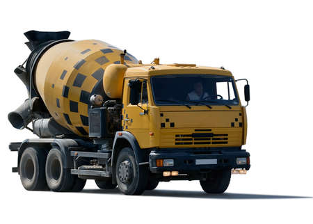 cement mixer truck isolated on white background photo