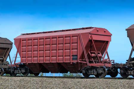 self-unloading hopper wagon for transportation of dry bulk cargoes Stock Photo