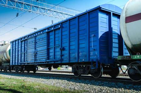metallic rail freight wagon Stock Photo - 22542445