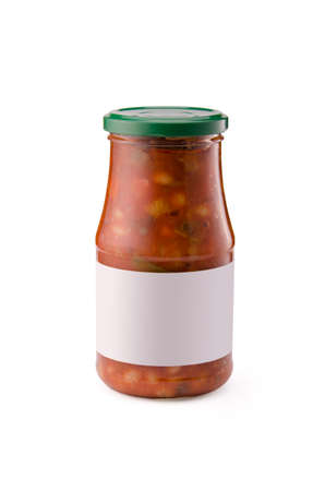 canned beans in a glass jar with white blank label on a white background Stock Photo - 26004566