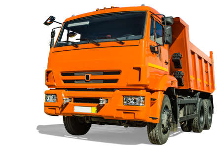 Dump truck on white background photo