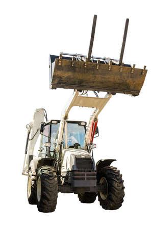 backhoe loader:   Construction Bulldozer Tractor Excavator isolated on white background Stock Photo