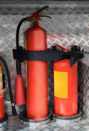 foam safe: fixed foam fire extinguishers in the drawer of a fire truck
