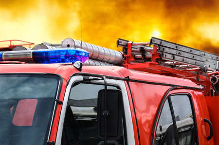 car fire protection on a red gradient background Stock Photo