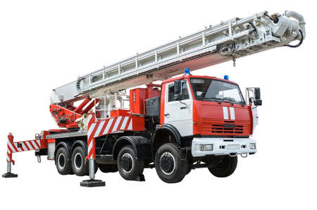 ladder safety: Fire truck ladder  isolated on white background