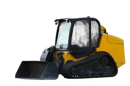 backhoe: Construction Bulldozer Tractor Excavator isolated on white background
