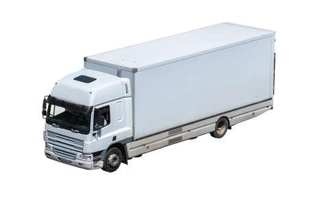 loading truck: cargo truck isolated on white background  Stock Photo