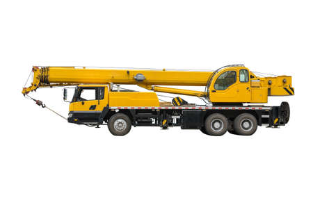 telescopic: Truck Crane. Isolated object on a white background.