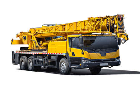 mobile crane: Truck Crane. Isolated object on a white background. (all logos, inscriptions and markings removed)
