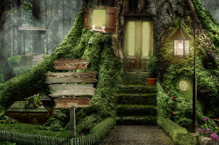 series, fairy house (stump), a fictional illustration of house and the situation in the form of a collage of photos Stock Photo