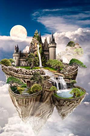 Fabelhafte Insel in die Wolken schwimmt Standard-Bild - 38958191