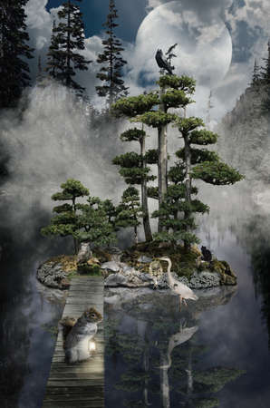 implausible: series, fairy house (stump), a fictional illustration of house and the situation in the form of a collage of photos Stock Photo