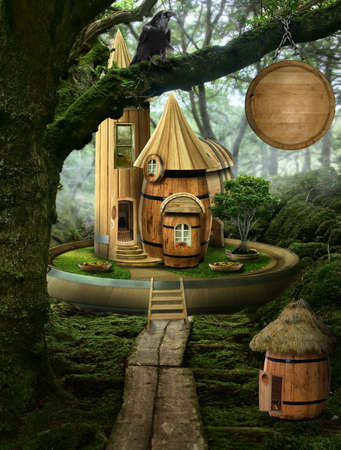 implausible: series, fairy house ( barrel), a fictional illustration of house and the situation in the form of a collage of photos