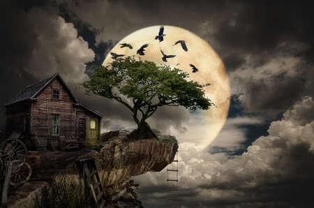 Serie, Fee Haus (Klippe), eine fiktive Darstellung des Hauses und die Situation in Form einer Collage aus Fotos Standard-Bild - 39636849
