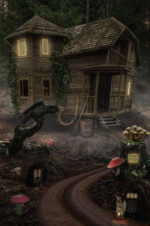 snag: series, fairy house , a fictional illustration of house and the situation in the form of a collage of photos