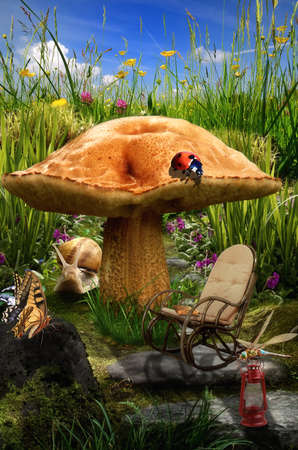 rattan: series, fairy house (mushroom), a fictional illustration of house and the situation in the form of a collage of photos