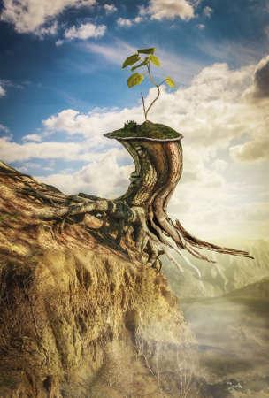 Das Konzept der Selbstaufopferung für die Fortsetzung des Lebens (Abbildung einer fiktiven Situation, in der Form Collage aus Fotos) Standard-Bild - 41009487