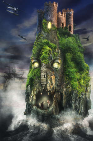 manipulation: fabulous lost island (illustration of a fictional situation, in the form collage of photos)