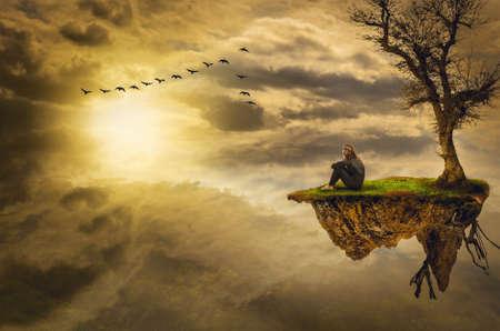 meditatie alleen met een (illustratie van een fictieve situatie, in de vorm collage van foto's) Stockfoto