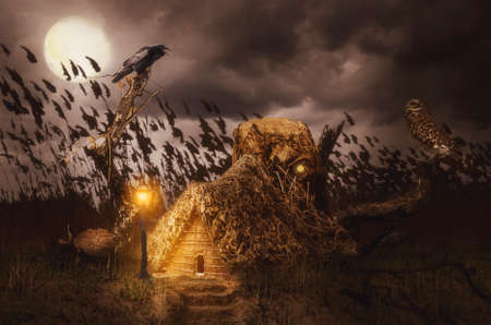 abandoned house: night talk under the moon (illustration of a fictional situation, in the form collage of photos) Stock Photo